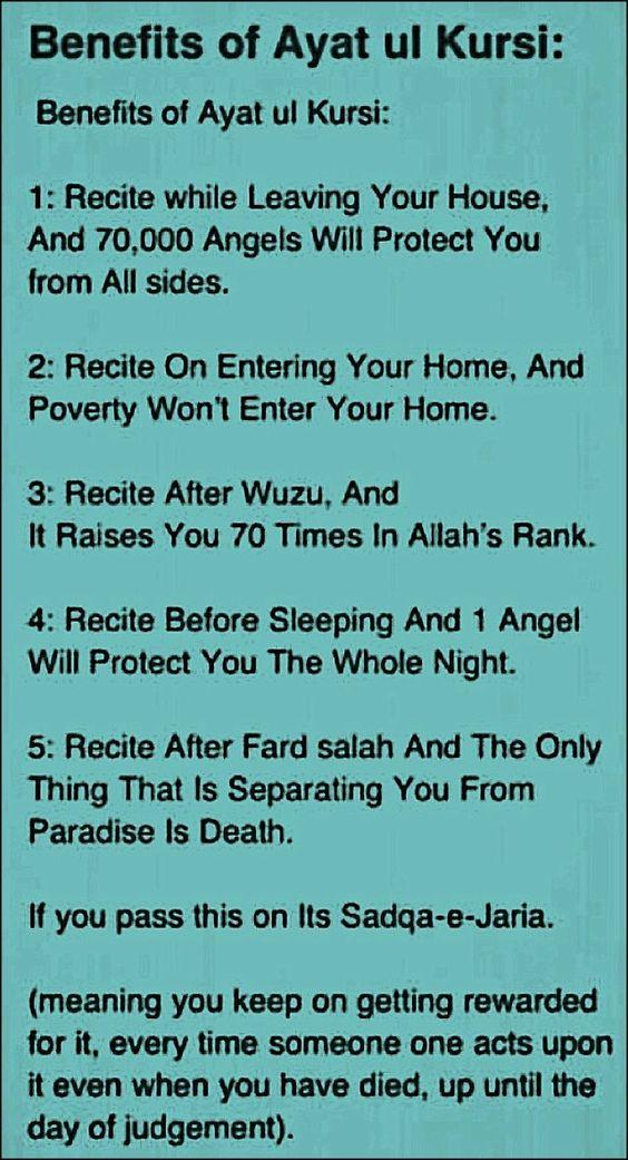 Islam Daily: Benefits of Ayat Ul Kursi