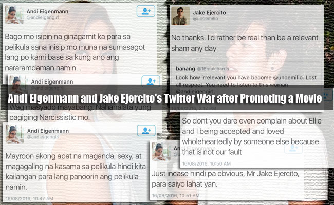 Andi Eigenmann and Jake Ejercito's Twitter War after Promoting a Movie