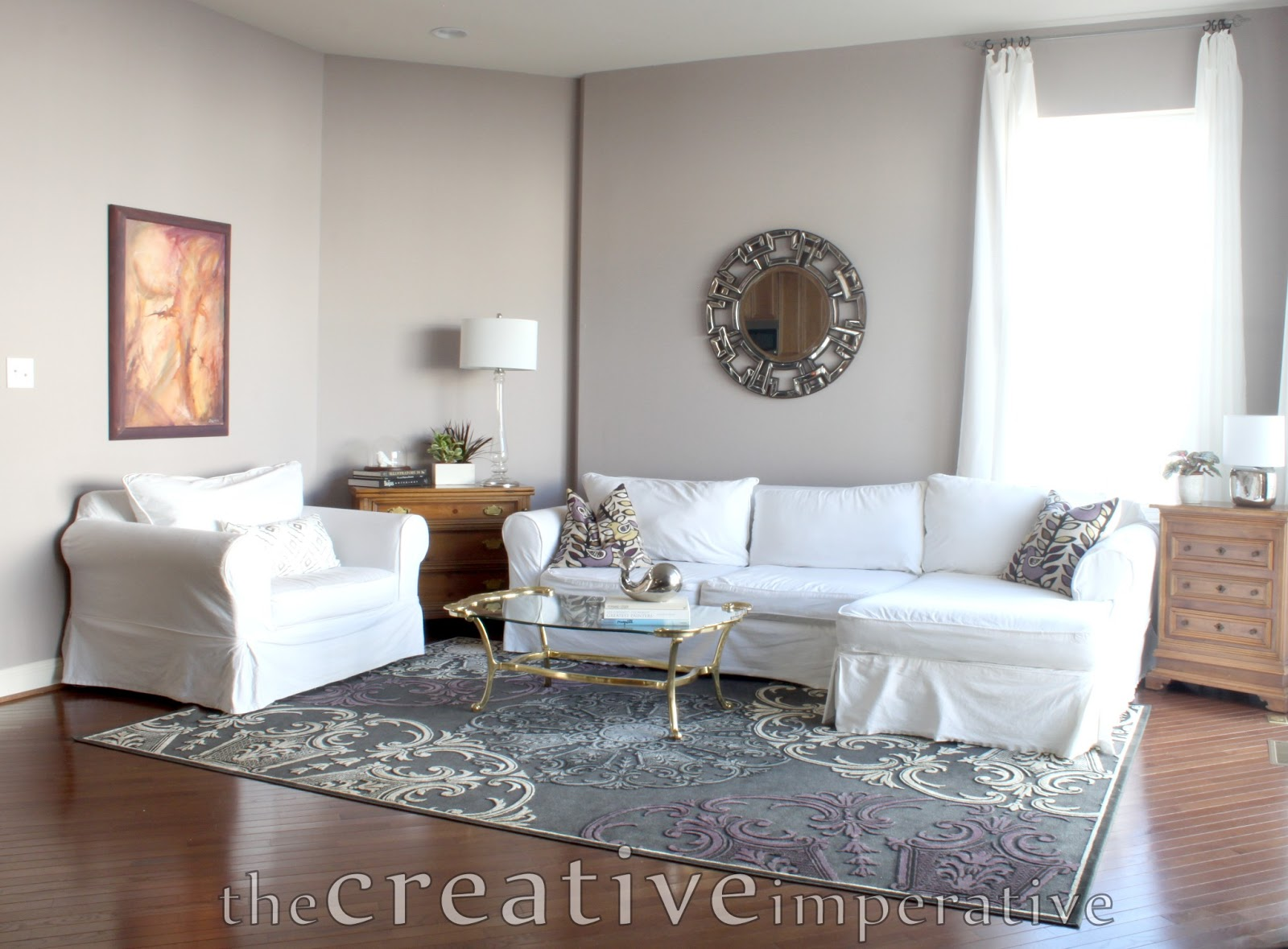 Grey Purple Navy Living Room