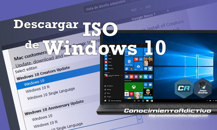 Descargar ISO Oficial de Windows 10 usando la Vista de Diseño Adaptable del navegador web, otro método para variar