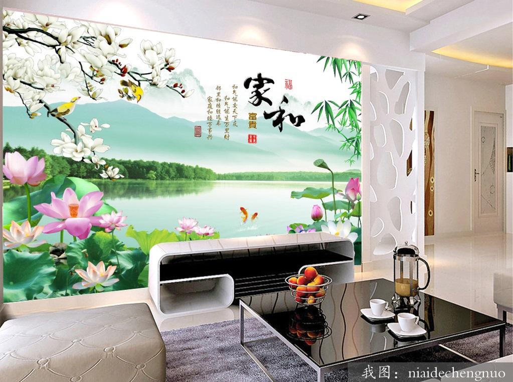 Tranh dán tường 3d phong cảnh hoa sen hoa mộc lan