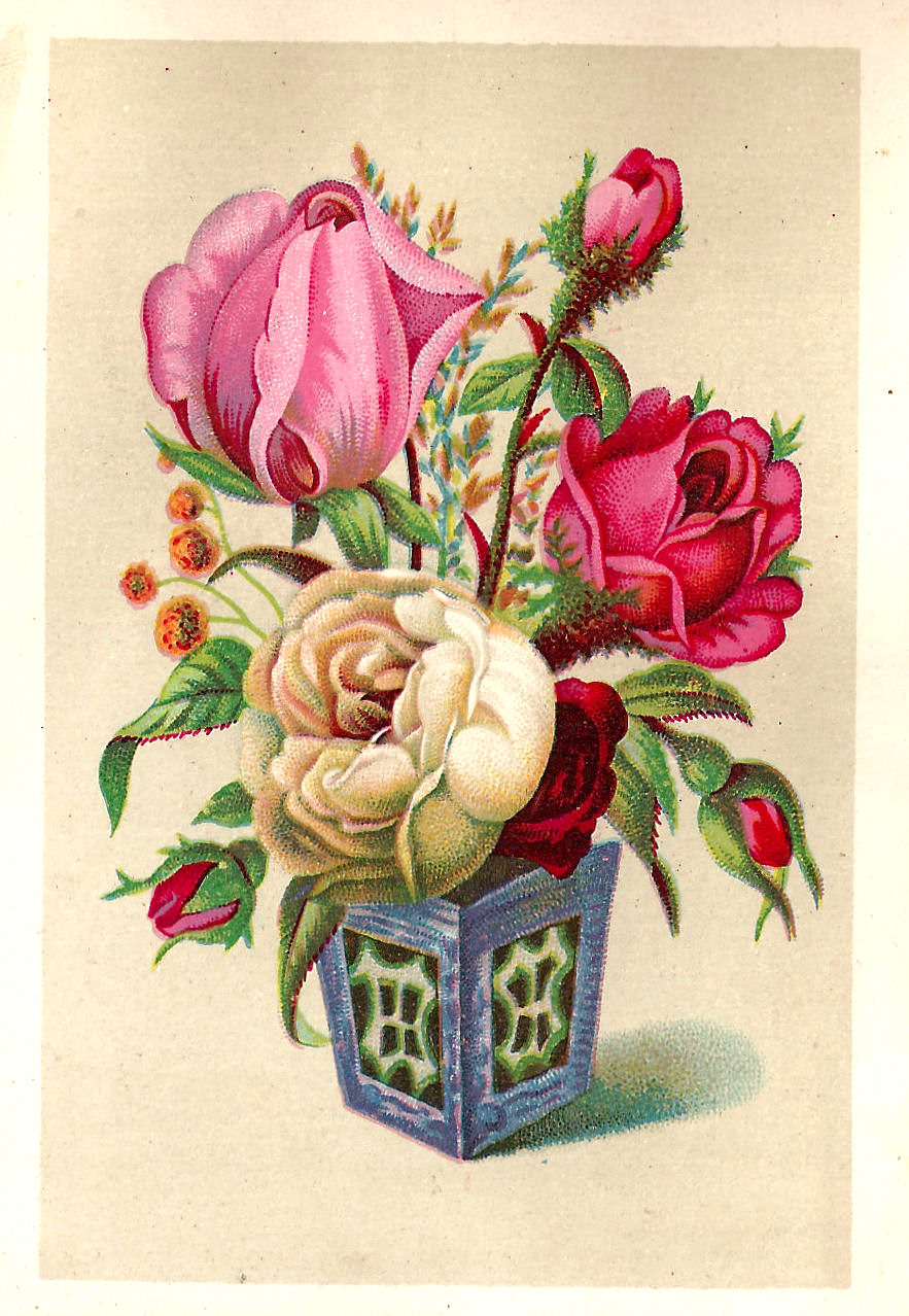 Antique Images: Free Flower Graphic: Antique Pink and White Rose in Vase Clip Art from Victorian ...