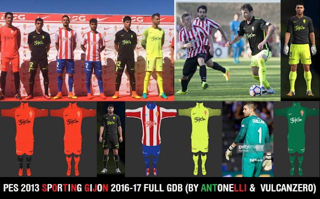 PES 2013 Sporting Gijon 2016-17 Full GDB BY ANTONELLI & VULCANZERO