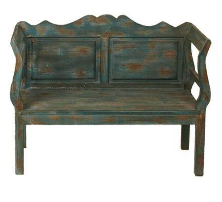 Banco de madera vintage con pintura decapada