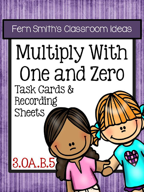 FREE Multiply With One and Zero Task Cards and Recording Sheets
