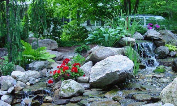 Garden with miniature river that flows showed a refreshing natural atmosphere
