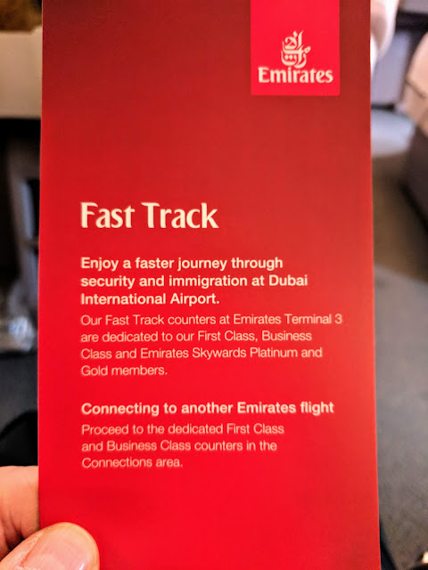 Emirates Business Class Fast Track card