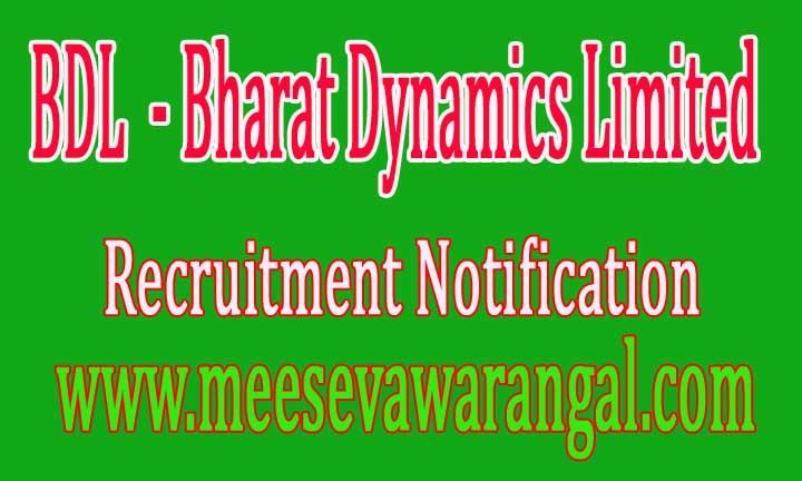 BDL (Bharat Dynamics Limited) Recruitment Notification 2016