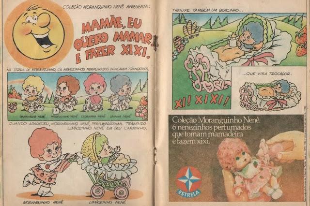 Propaganda em quadrinhos da Moranguinho Nenê, que é pequenina e faz xixi