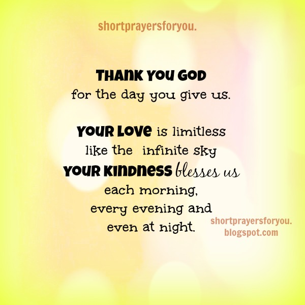 Thank you God short prayer by Mery Bracho. Free prayer with christian image. Thanksgiving, christian quotes.