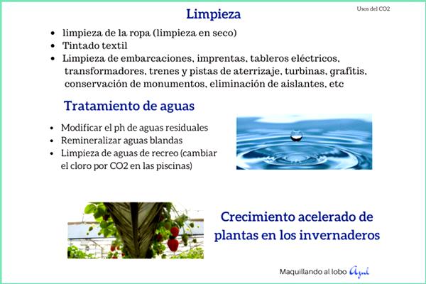 Uso del CO2 en tratamiento de aguas, limpieza y crecimiento de plantas en invernaderos
