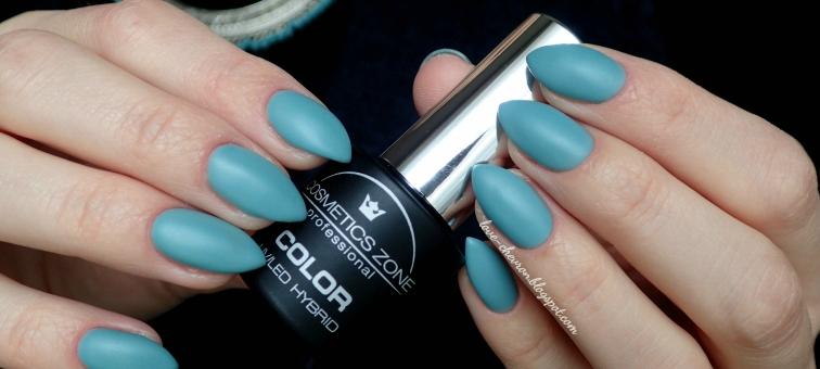 Cosmetics Zone |  Ocean Khaki 234 |  Oceans Collection | Top Mat Cosmetics Zone | Lakier hybrydowy Cosmetics Zone | blue nails |