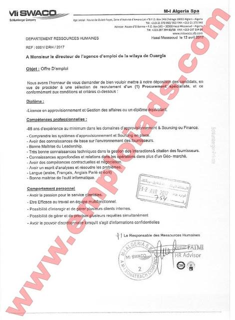 اعلان عن عرض عمل بمؤسسة JGC Algéria ولاية ورقلة افريل 2017