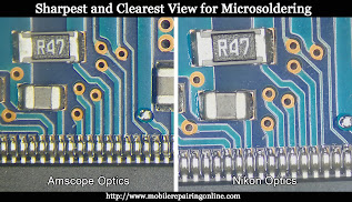 scope sharpest and clearest view form Amscope and Nikon lenses for doing micro soldering work on motherboards of smartphones