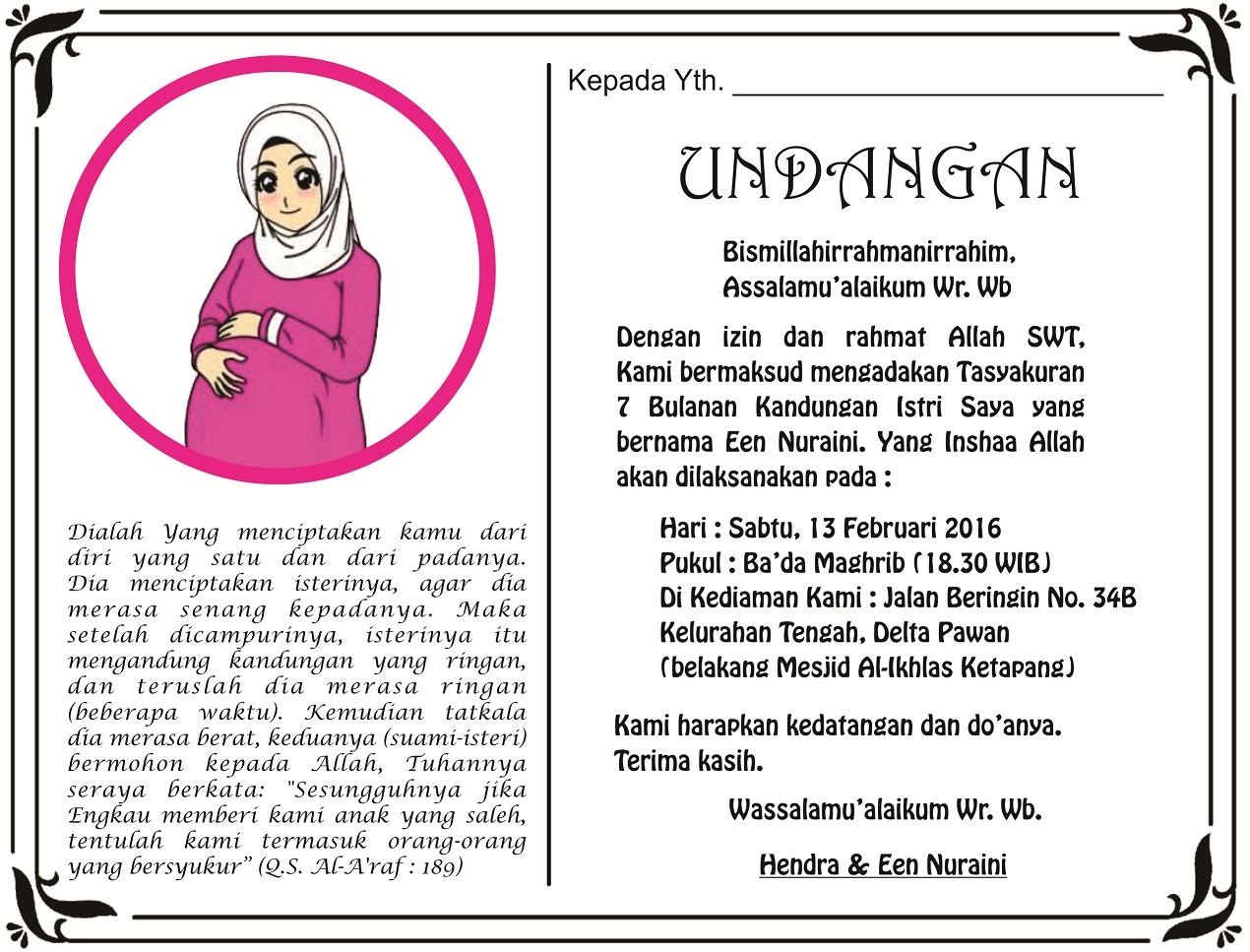 Contoh Kata Kata Undangan 7 Bulanan Kehamilan
