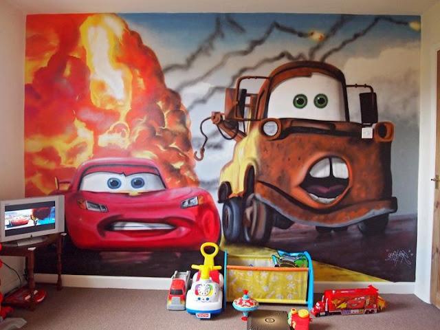 Fototapet barn cars bilar disney killtapet killrum barntapet
