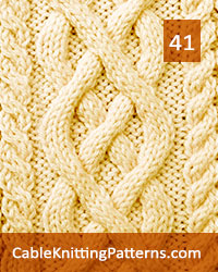Cable Panel 41. Knit with 58 stitches and 24-row repeat. Techniques used: 2/2 right cross, 2/2 left cross, 3/1 right purl cross, 3/1 left purl cross.