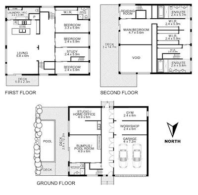 แปลนบ้านตู้คอนเทนเนอร์ 3 ชั้น