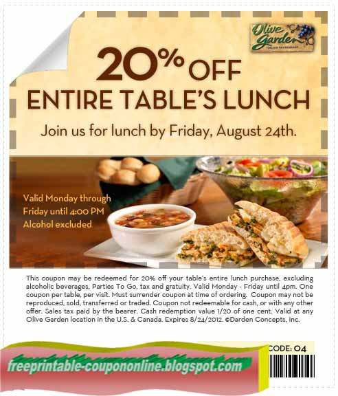 Olive garden discount coupons