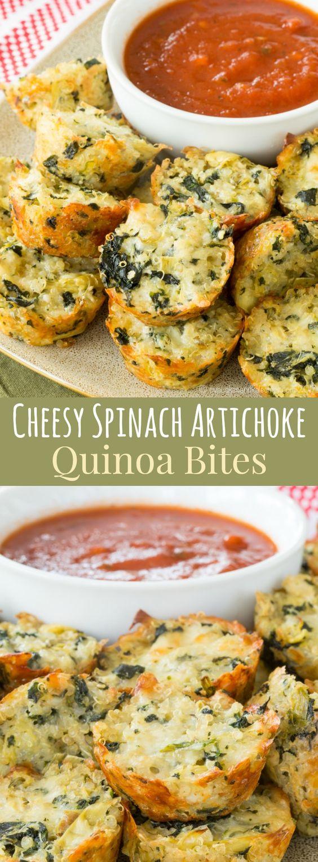 CHEESY SPINACH ARTICHOKE QUINOA BITES  #cheesy #spinach #artichoke #quinoa #bites #healthyrecipes #healthyfood #healthysnacks