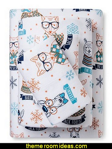 Hipster Animal Flannel Sheet Set - Pillowfort