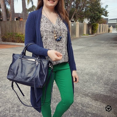 awayfromblue instagram | green asos petite skinny jeans with navy waterfall cardigan, regan bag and printed tank