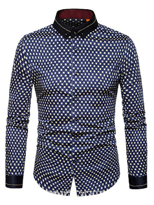 Ericdress Polka Dots Lapel Mens Slim Fit Shirt
