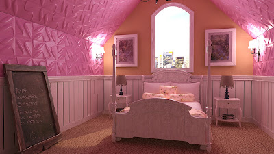 Pink themed 3d decoration with textured wall art paneling