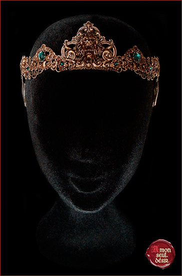 Lion Lannister Crown Royal Medieval Middle Age Circlet Jewelry Cersei Game of Thrones Bronze Gold Green