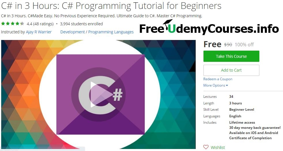 Udemy 100% Off] C# in 3 Hours: C# #Programming Tutorial for