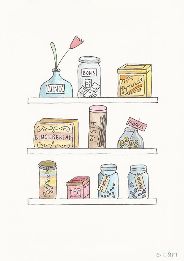 Gezeichnetes Küchenboard mit Dosen, Flaschen und Gläsern