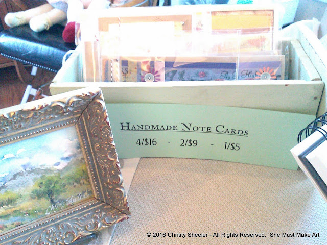 Two time-distressed drawers from my wall cabinet will hold the handmade note cards.