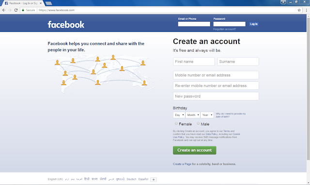 Facebook in google Chrome