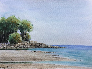An original water colour painting of Patong beach, at Phuket on Fabriano water colour paper. By Manju Panchal