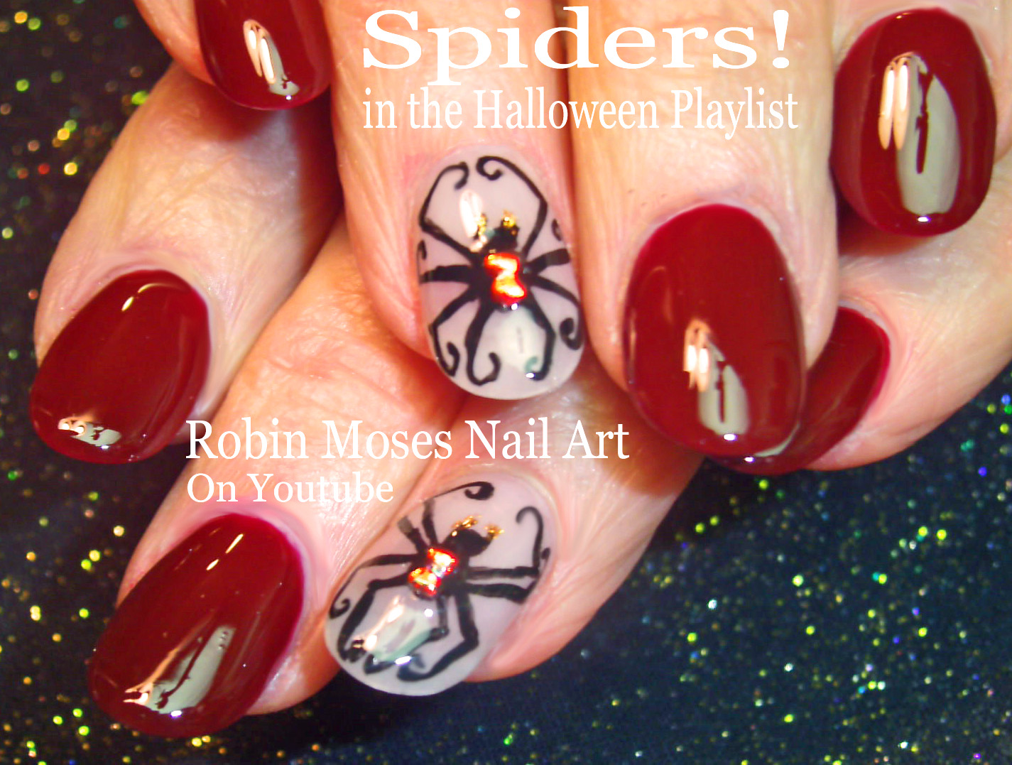 Nail Art by Robin Moses: Black Widow spider Nails! \