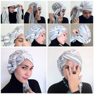 Tutorial Style Hijab Pashmina Kepang Turban