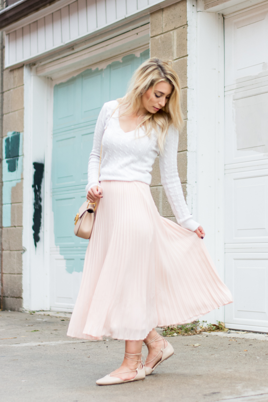 OOTD - Blush Midi Skirt For Fall | La Petite Noob | A Toronto ...