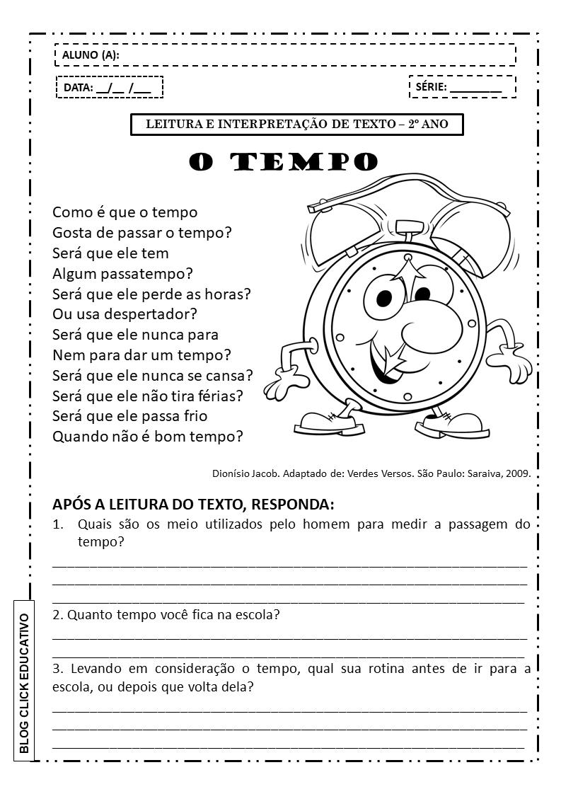 Atividade De Leitura E Interpretacao De Texto Para Imprimir 2º