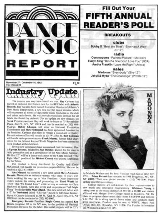 Madonna in the Dance Music Report magazine, 1982