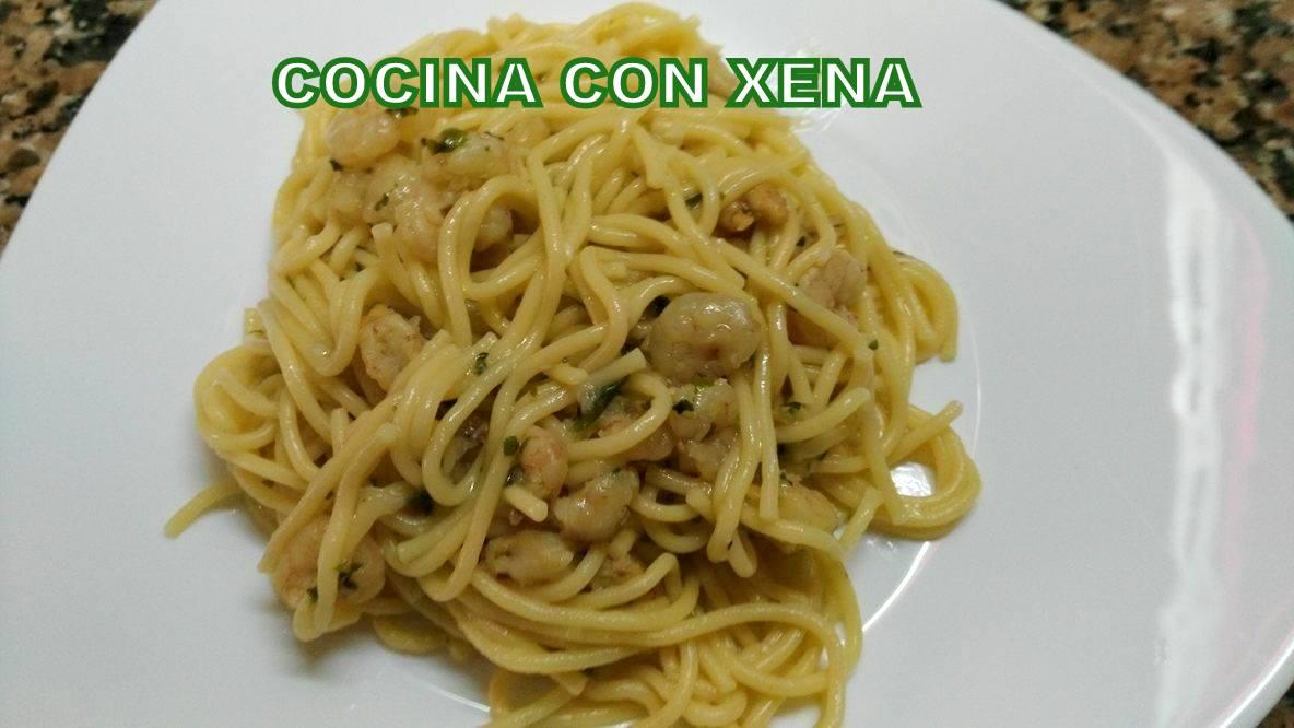 Cocina con xena espaguetis con gambita cebolla etc for Cocina con xena olla gm d