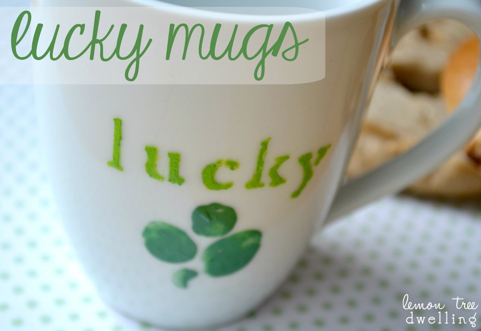 44208449a white coffee mug hand painted with 4 leaf clovers and the words