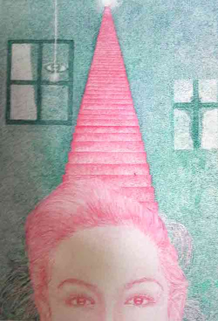 階段から降りる女性の点描画です