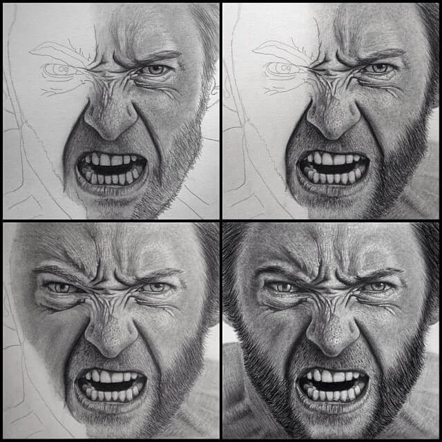 01-Wolverine-Logan-Hugh-Jackman-Justin-Cohen-Realistic-Portrait-Drawings-WIP-www-designstack-co