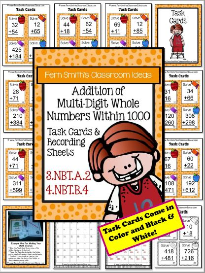 3rd Grade Go Math 1.7 Addition Multi-Digit Whole Numbers Within 1,000 Task Cards