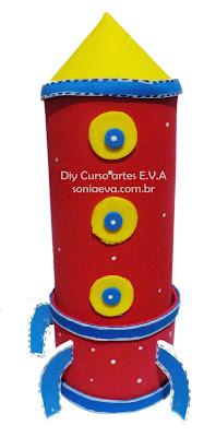 Dia das crianças Estojo foguete de E.V.A