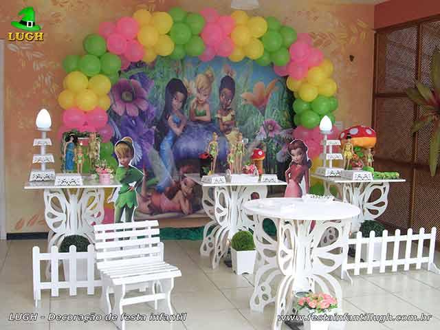 Mesa decorada provençal para festa de aniversário tema Tinker Bell - Sininho