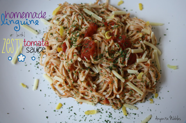 Homemade Linguine with Zesty TomatoSauce | Anyonita Nibbles