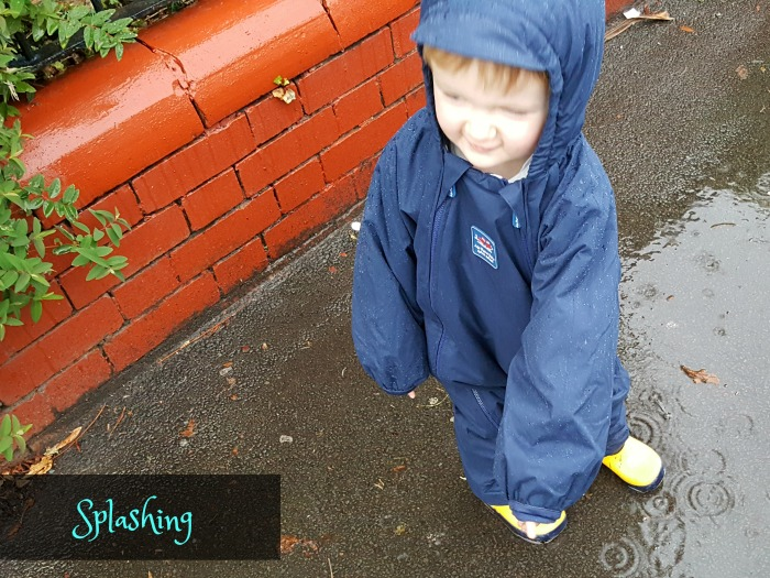 Squidge splashing in the rain