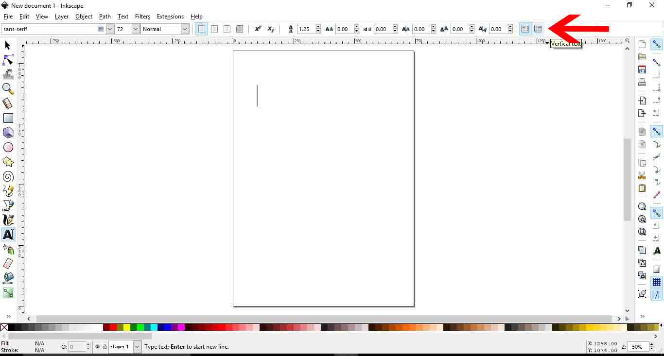 How to type text vertically in inkscape design bundles 3 go to the top right side of the toolbar and select the vertical type tool ccuart Image collections