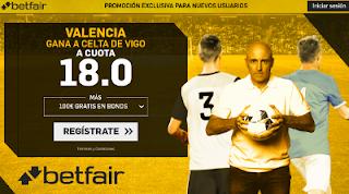 betfair supercuota victoria del Valencia al Celta 9 diciembre